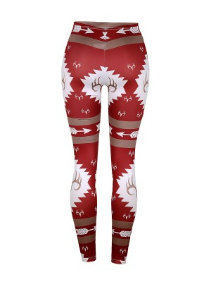 Trendy Red Christmas Print High Waist Leggings Natural Women