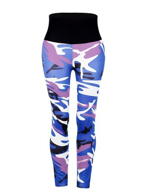 Flirtatious Blue Wide Waistband High Rise Camo Leggings Women's Apparel