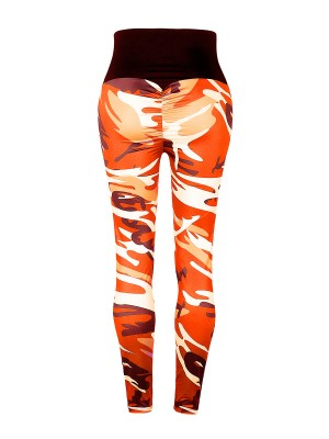 Mysterious Orange Patchwork Elastic Leggings Ankle Length Wholesale Online