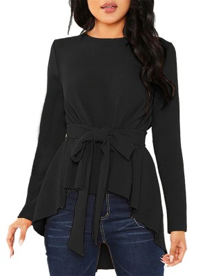 Classical Black High-Low Hem Waist Knot Blouse Plain Outdoor