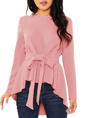 Fad Pink Long Sleeves Blouse Unsymmetrical Hem Feminine Fashion