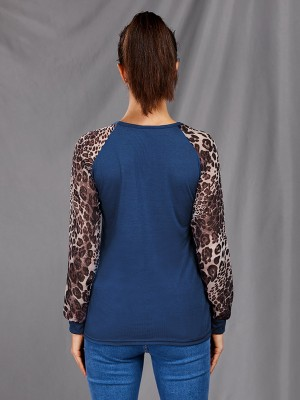 Lovable Dark Blue Patchwork Shirt Long Sleeve Round Collar Comfort Fit