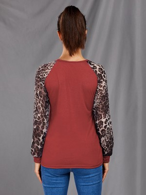 Snug Fit Crew Neck Leopard Print Shirt Plus Size Feminine Fashion