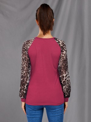 Soft Rose Red Shirt Big Size Full Sleeve Leopard Paint All Over Smooth