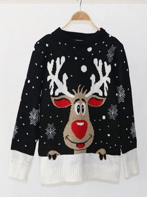 Consummate Black Xmas Elk Pattern Round Collar Sweater Wholesale Online
