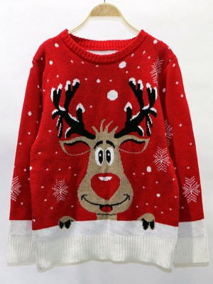 Ingenious Red Full-Sleeved Christmas Print Sweater Comfort Fit