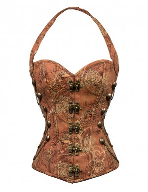 Haute Contour Brown 12 Fish Scales Bone Halter Neck Court-Style Corsets