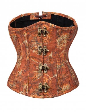 Crossover Back Brown 12 Bones Brass Clasp Underbust Corset Tummy Control