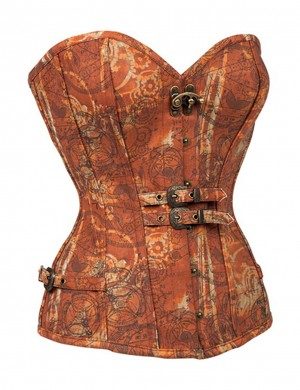 Vintage 12 Bones Brown Belt Decor Overbust Corset Heart-Shaped Neck