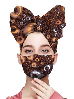 Classy Brown 2-Piece Exotic Print Elastic Headscarf And Mask Good Elasticity