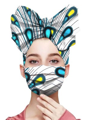 Comfy African Style Mask Pleated Trim Headscarf Fashion Design