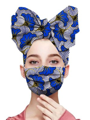 Cheeky 2Pcs Flower Print Headscarf And Mask Smooth