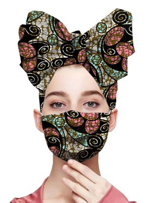 Versatile African Print Twist Headscarf Dustproof Mask For Sauntering