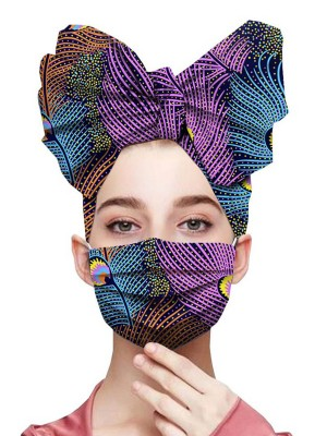 Modest Stripe Print Headscarf Cotton Dustproof Mask Natural Women Fashion