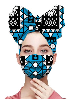 Inspired Geometric Print Headscarf All Cotton Mask Workout