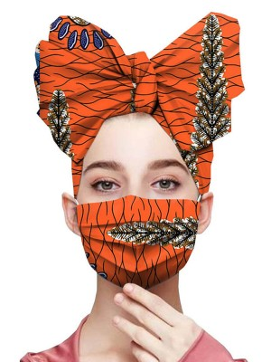 Seaside Orange Exotic Paint Pleated Headscarf Dustproof Mask Fashion