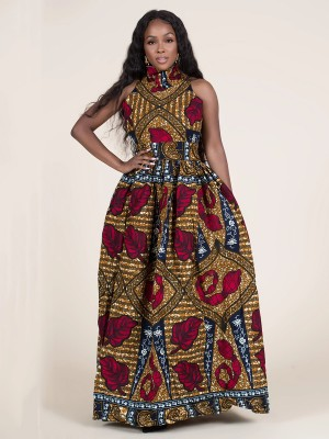 Special Red African Print High Neck Maxi Dress For Beauty