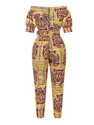 National Short Sleeve High Waist Tie Jumpsuit Sexy Fashion