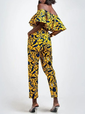 Luscious Curvy Yellow Off Shoulder Jumpsuit African Style