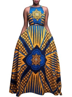 Unique Yellow Sleeveless Maxi Dress Exotic Pattern Female Grace