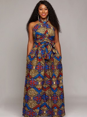 Royal Red Ethnic Print Maxi Dress Sleeveless Lady Clothing
