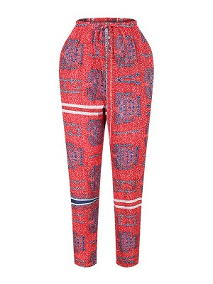 Desirable Ankle Length African Pants High Waist Breathable