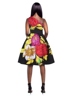 Ultra Sexy Floral Print High Waist Skater Dress For Girls