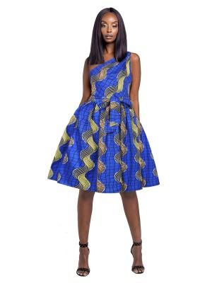 Beautiful Midi Dress Fitted Waist African Pattern Unique Fashion