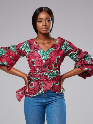 Mystic Rose Red V Neck Top Africa Printed Tie Waist Stretchy