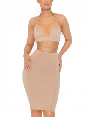Ultra Hot Apricot Knotted Backless Bodycon Two Pieces Dress