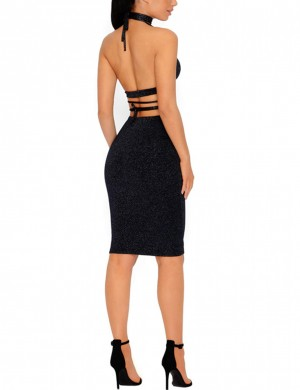 Ladies Black Criss Cross Knot Midi Tight Dress Latest Fashion