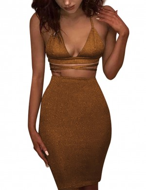 Loose Gold Halter Backless Tight Dress Cross Waist All-Match Fashion