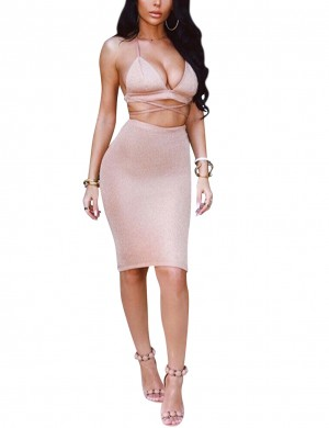 Special Pink Halter Neck Tight Dress Midi Length Womens Fashion