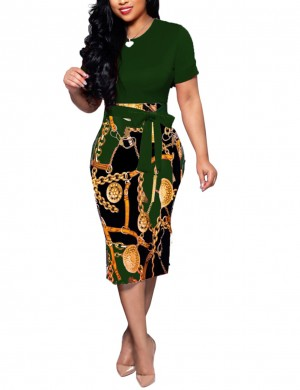 Women Patchwork Tight Midi Dress Army Green Print  Crew Neck Dress