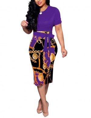 Trendy Purple Print Patchwork Tight Midi Dress Crew Neck Dress Women