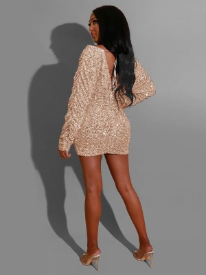 Fabulous Fit Gold Bubble Sleeve Bodycon Dress Sequin Cheap Online