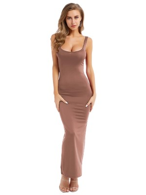 Apricot Plus Size Bodycon Dress Sleeveless Natural Women Fashion