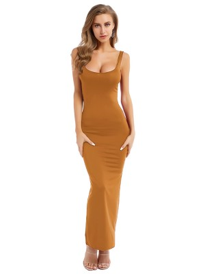 Holiday Orange Strap Solid Color Bodycon Dress New Fashion