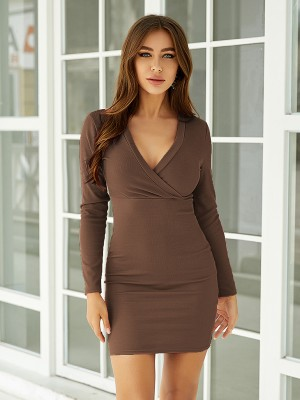 Comfort Brown Solid Color Bodycon Dress Mini Length Trend