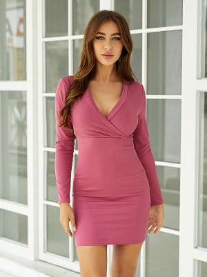 Nicely Pink Bodycon Dress Cross-V High Waist Female Grace