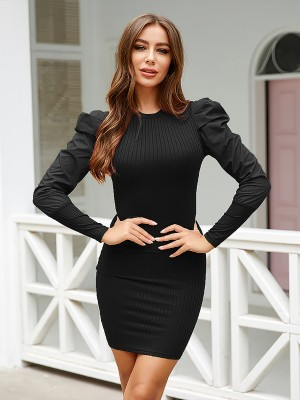 Cheeky Black Mini Bodycon Dress Puff Sleeve Plain For Girls