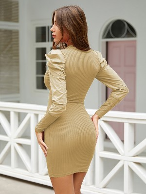 Silhouette Khaki Round Neck Bodycon Dress Full Sleeve