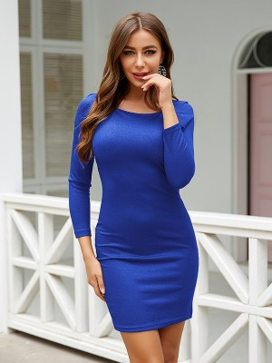 Sleek Royal Blue Bodycon Dress Long Sleeve Glitter Feminine Fashion