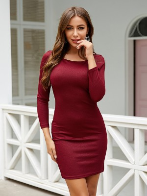 Curve Smoothing Red Solid Color Bodycon Dress Full Sleeve
