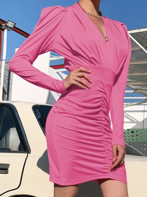 Pink Solid Color Puff Sleeves Bodycon Dress Lightweight