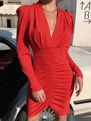 Red Puff Sleeves High Waist Bodycon Dress Latest Trends