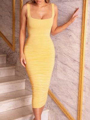 Graceful Yellow Bodycon Dress Maxi Length Solid Color For Romans