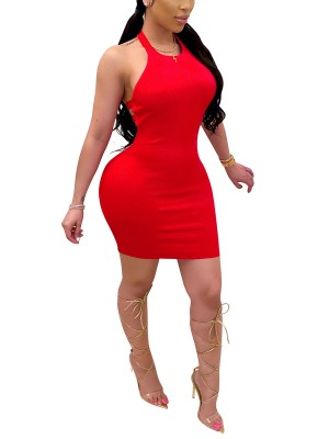 Exquisite Red Bodycon Dress Hollow Out Mini Length Fashion