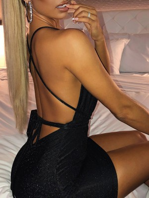 Fresh Black Sequin Cross Back Bodycon Dress Women's Essentials