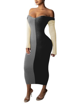 Off Shoulder Contrast Color Bodycon Dress Black Stunning Style